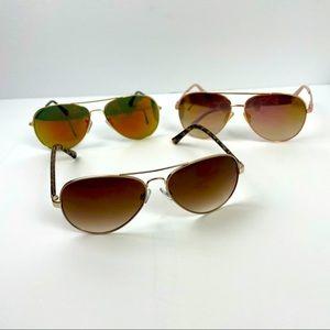 Three pair of aviator sunglasses!